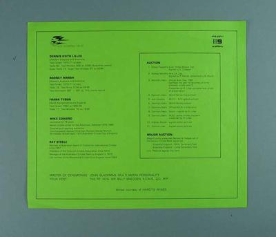 Information sheet for Dennis Lillee Testimonial Dinner, 9 Dec 1981