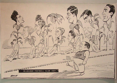 Copy cartoon depicting Melbourne FC players, 1927