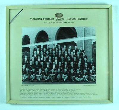 Framed photograph - Victorian Football League, Second 18 -  Adelaide 1958; Photography; 1987.1797.1