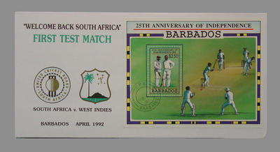 25th Independence Anniversary Barbados April 1992 - South Africa v West Indies - 'Welcome Back South Africa'; Philatelics and currency; Documents and books; M7750