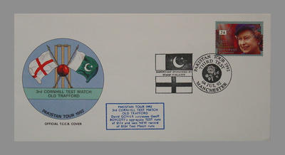 1992 Pakistan's England Tour, 3rd Cornhill Match, Old Trafford stamped 4/7/92; Documents and books; M7754