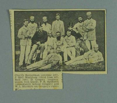 Newspaper photograph of Australian cricket team, 1878; Documents and books; 1988.2008.21