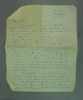 Letter from Roy Park to Arthur Liddicut, 20 July 1945