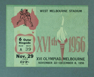 Ticket to 1956 Olympic Games boxing events, 29 November; Documents and books; 1987.1638.8
