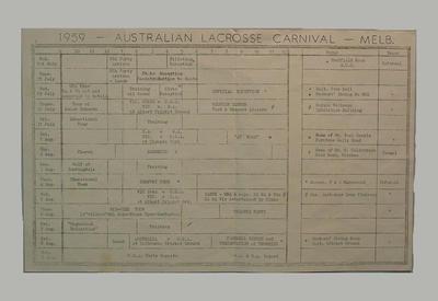 Daily schedule: 1959 International Lacrosse Carnival, Melbourne