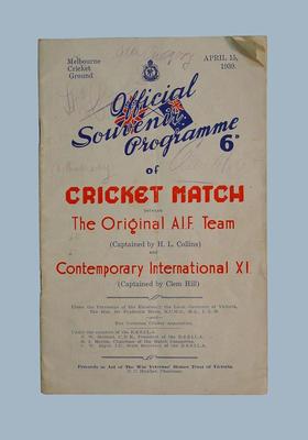 Programme, Original A.I.F. v Contemporary International XI cricket match - 15 April 1939
