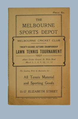Melbourne Cricket Club 22nd Autumn Championship Lawn Tennis March 1921; Documents and books; Documents and books; M7872