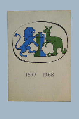 Document Folder:  '1877 - 1968 ' depicts a lion and kangaroo