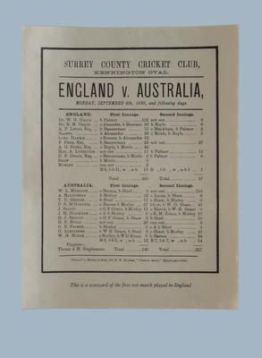 Scorecard: Surrey CCC England v Australia, Kennington Oval, 6 September 1880