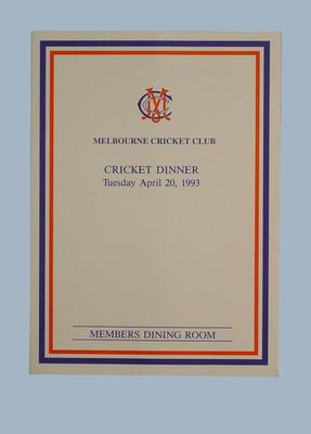 Menu, Melbourne Cricket Club Cricket Dinner -  20 April 1993