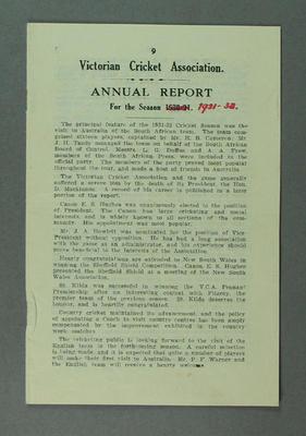 Annual report, Victorian Cricket Association - season 1931-32