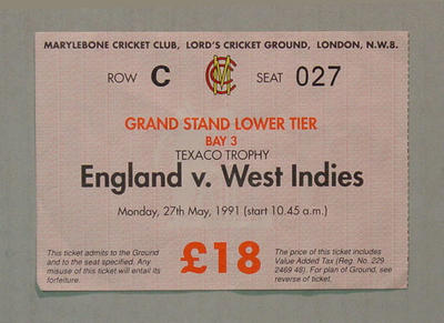 England v West Indies 27 May 1991  entry ticket Lord's Cricket Ground