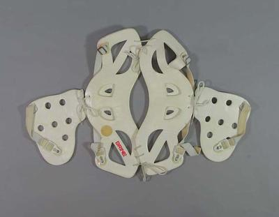 Lacrosse arm guards used by Thomas Hardy at 1986 Lacrosse World Championships