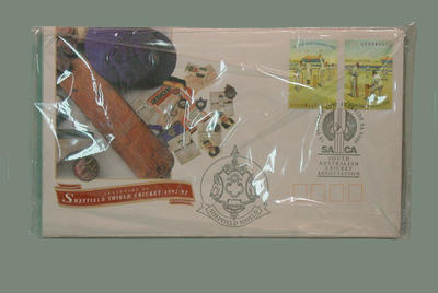 Centenary of Sheffield Shield Cricket 1992-3; 6 envelope packet stamped 15/10/92