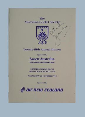 The Australian Cricket Society 25th Annual Dinner 21/10/92