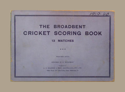 Score book:  McConchie Cricket Club - 1939-40 season; Documents and books; M7549.29