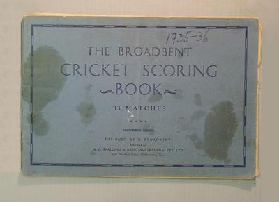 Score book:  McConchie Cricket Club - 1935-36 season