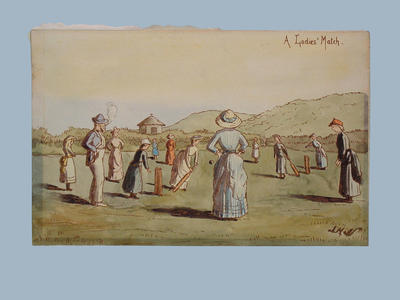 English School watercolour titled 'A Ladies' Match' c.1880