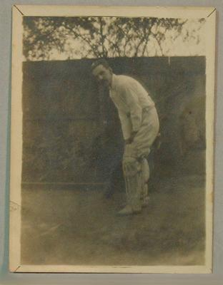Photograph of A. Reaby in cricketing attire.; Photography; M7834.2