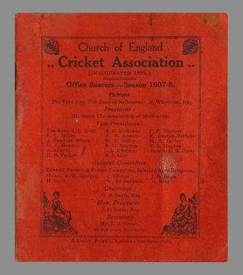 Church of England Cricket Association Office Bearers 1907-08 booklet