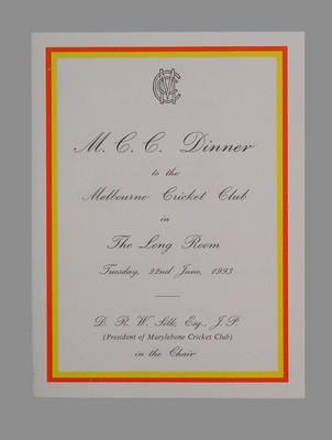 Menu - Dinner hosted by Marylebone CC for Melbourne CC on 22 June 1993