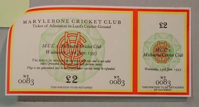 Ticket, Marylebone Cricket Club v Melbourne Cricket Club cricket match - 23/6/1993