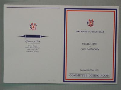 Menu, Melbourne Cricket Club Committee Room function - Melbourne FC v Collingwood FC, 28 May 1995