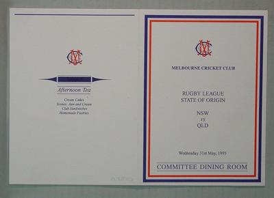 Menu, Melbourne Cricket Club Committee Room function - Rugby League State of Origin, 31 May 1995