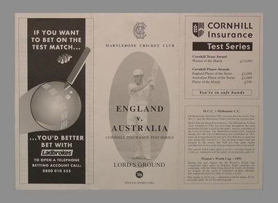 Scorecard for England v Australia Test match at Lord's, 17-21 June 1993