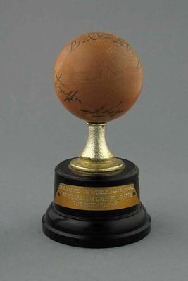 An autographed mounted Lacrosse Ball, used in World Series Final, Australia v USA, at Toronto 22 May 1967