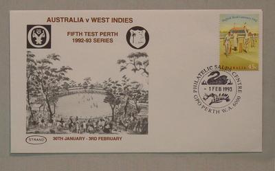 Stamped envelope: Australia v West Indies, 5th Test Perth, 1/2/93