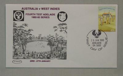 Stamped envelope: Australia v West Indies, 4th Test Adelaide, 25/1/93