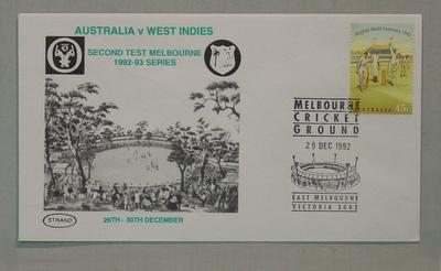 Stamped Envelope - Australia v West Indies 2nd Test, Melbourne, 29/12/92; Documents and books; M13961