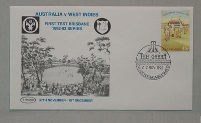 Stamped envelope: Australia v West Indies, First Day Brisbane Test, 27/11/92