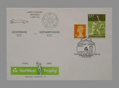 Envelope stamped 5/9/92 - Natwest Trophy Final at Lord's Ground; Documents and books; M7781