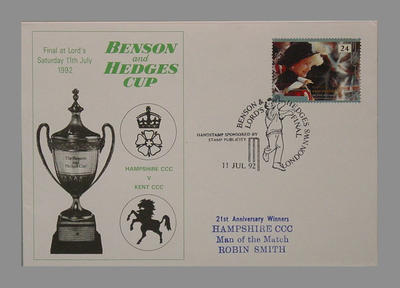 Envelope stamped 11/7/92 - Final Benson & Hedges Cup at Lord's