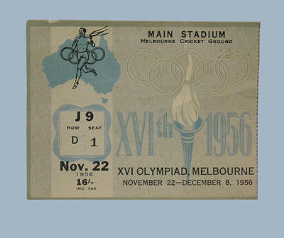 Melbourne 1956 Olympic Games, Main Stadium, admission ticket for 22 November
