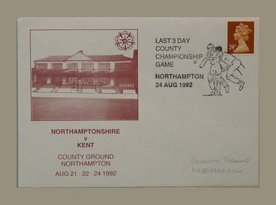 Envelope commemorating Last 3 Day County Fixture, Northamptonshire v Kent -  August 1992; Philatelics and currency; M7779