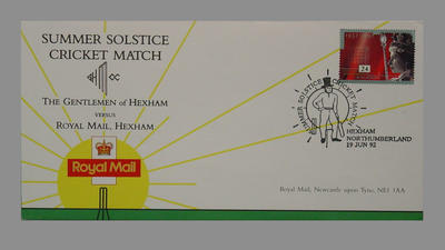 Envelope No. 225/500, stamped 19/6/92 - Summer Solstice Gentlemen of Hexman v Royal Mail Hexham