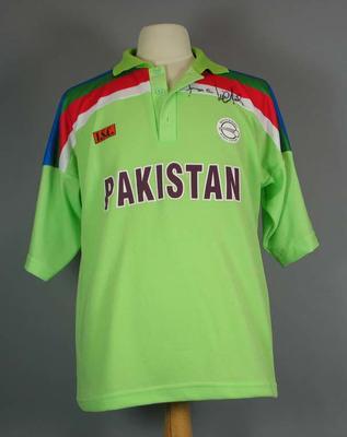 Pakistan cricket shirt, 1992 Cricket World Cup - signed by Imran Khan