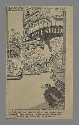 'London Laughs' cartoon by Lee, no. 5,587 : Australian XI Coronation Tour 1953