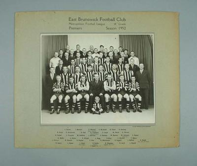 Photograph of East Brunswick FC, 1952; Photography; 1988.1910.29