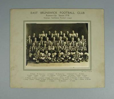 Photograph of East Brunswick FC, 1938; Photography; 1988.1910.32