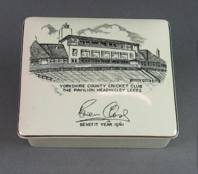 Cigarette box lid, Brian Close Benefit Year 1961