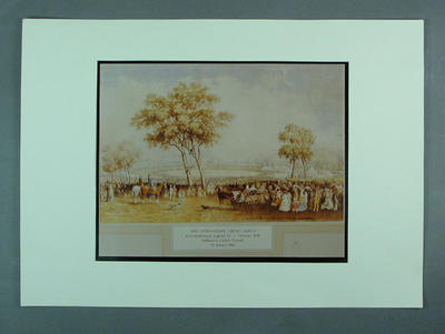 """Photograph of watercolour painting, """"First Intercolonial Cricket Match"""""""