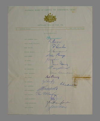 Australian Cricket Board - 1956 Australian XI touring Team names & signatures