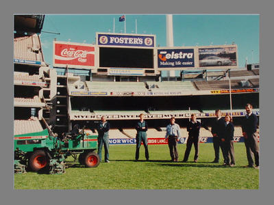 Photograph of MCC Ground Staff  personnel on the MCG c. 1997; Photography; M7962.1