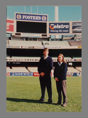 Photograph of MCC Ground Staff  personnel on the MCG - Tony Ware & Marnie King; Photography; M7962.2