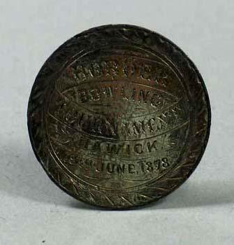 Silver disk from presentation lawn bowl, Border Bowling Tournament 19 June 1878