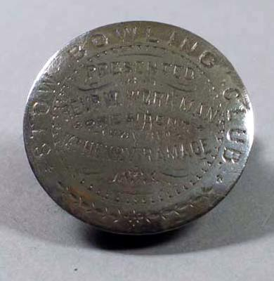 Silver disk from presentation lawn bowl, Stow Bowling Club 1893